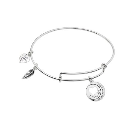 Qina C Sterling Silver I Love You To The Moon Back Heart Leaf Charm Adjule