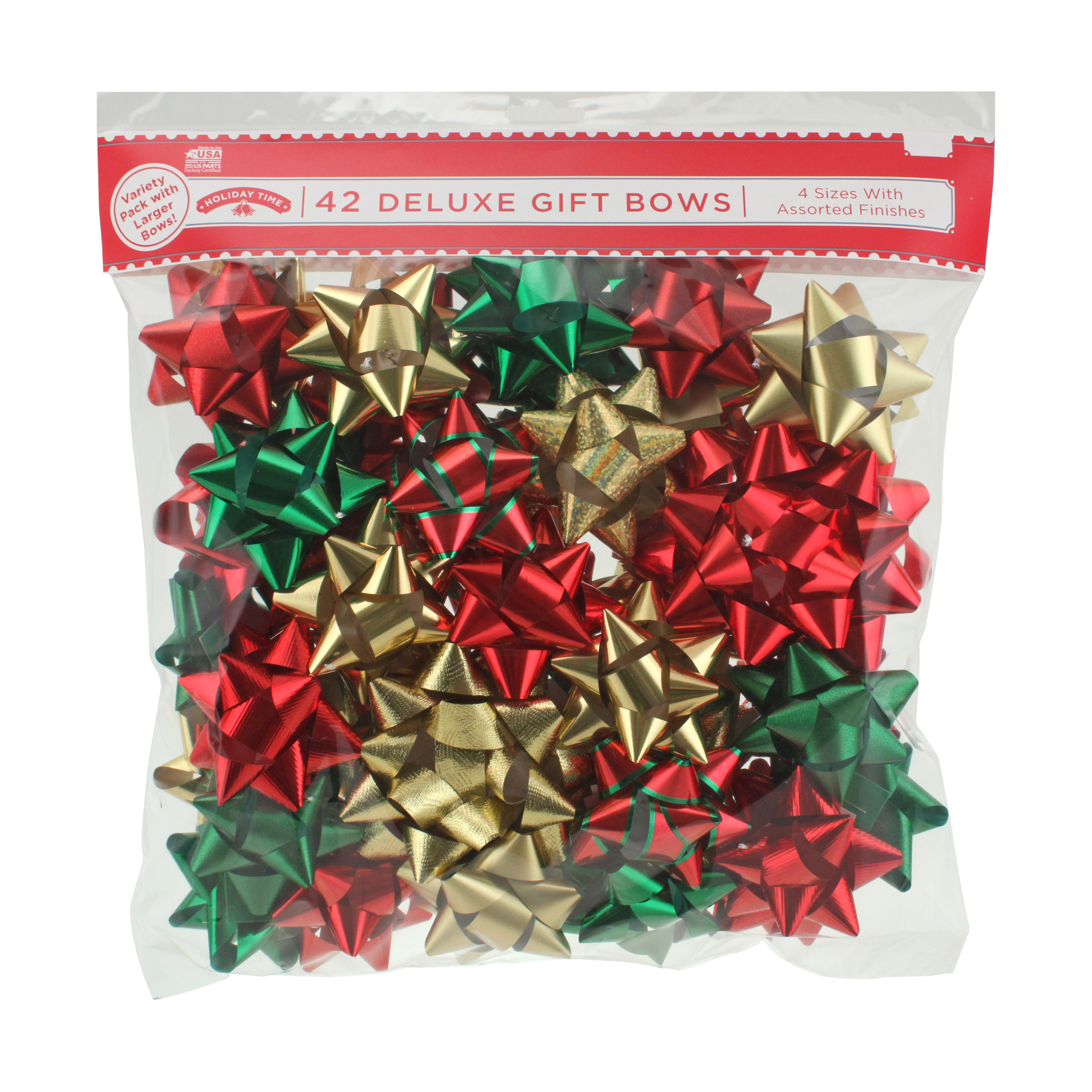 42 COUNT GIFT BOW ASSORTMENT - RED/GREEN/GOLD