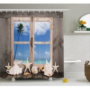 seashell bathroom decor. Beach Decor Shower Curtain  Summer Holiday wih Seashells Starfish Palm Tree Ocean Print Fabric Seashell Bathroom