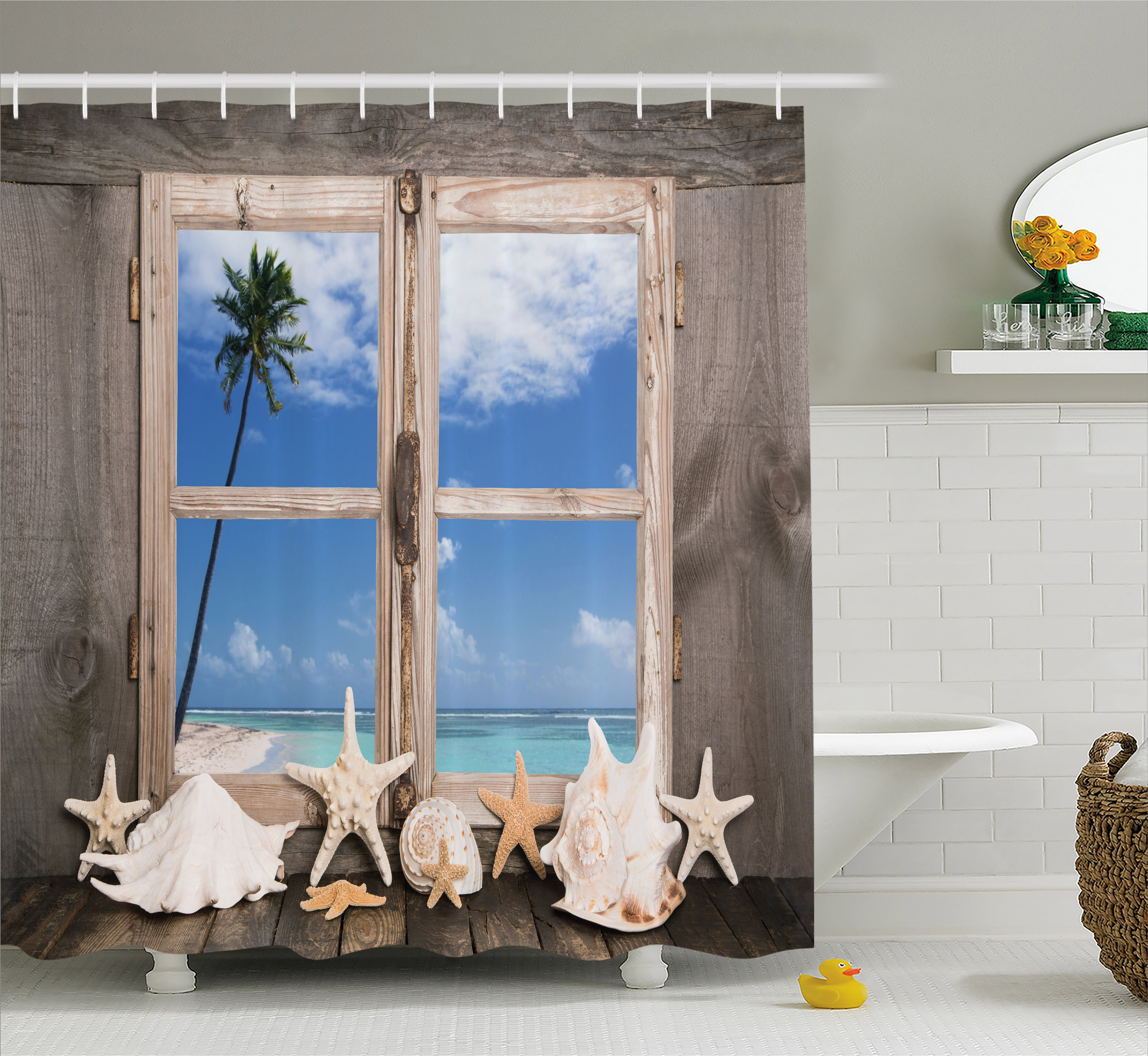Beach Decor Shower Curtain, Summer Holiday wih Seashells Starfish Palm Tree Ocean Print, Fabric Bathroom Set with Hooks, 69W X 70L Inches, Light Brown Sky Blue and White, by Ambesonne
