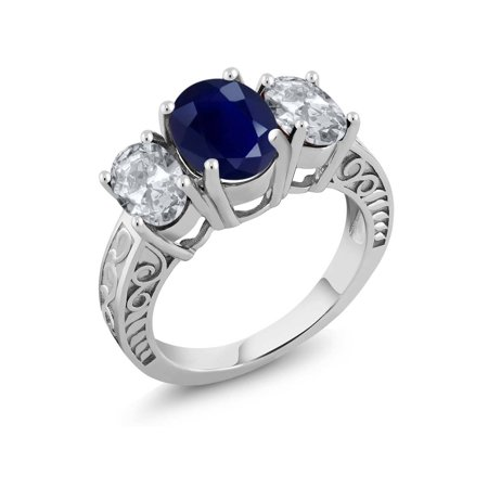 - 4.40 Ct Oval Blue Sapphire White Topaz 925 Sterling Silver Ring