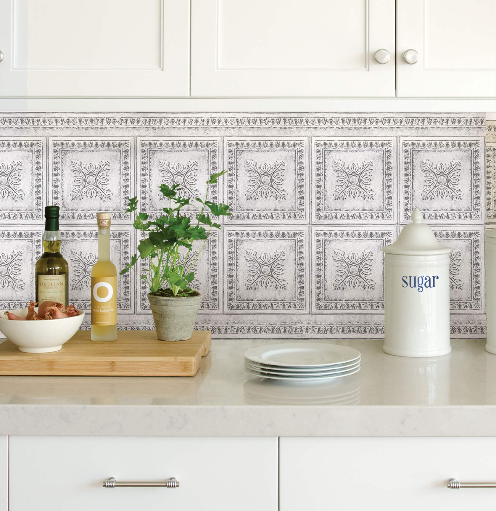 - InHome Ornamental Tin White Peel & Stick Backsplash Tiles