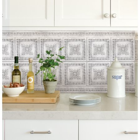 InHome Ornamental Tin White Peel & Stick Backsplash Tiles