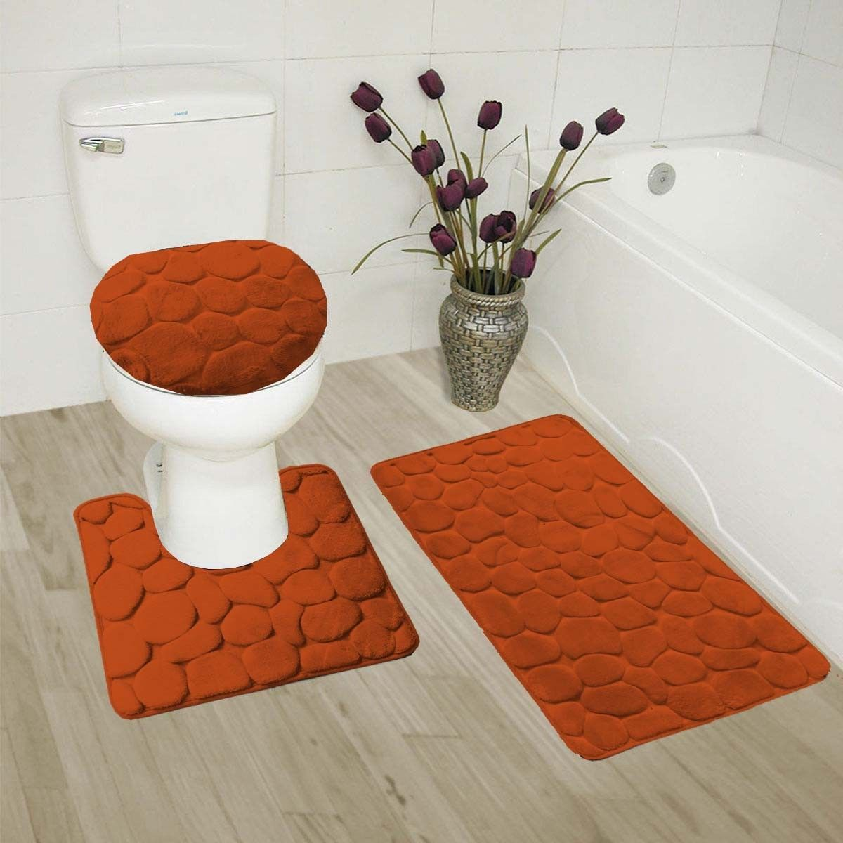 """ROCK RUST 3-Piece Embossed Bathroom Rug Set Super Soft Memory Foam Bath Mat, Rug 19""""x 30"""", Contour Mat 19""""x19"""" and Toilet Lid Cover 19""""x19"""" with Non-Skid Rubber Back"""