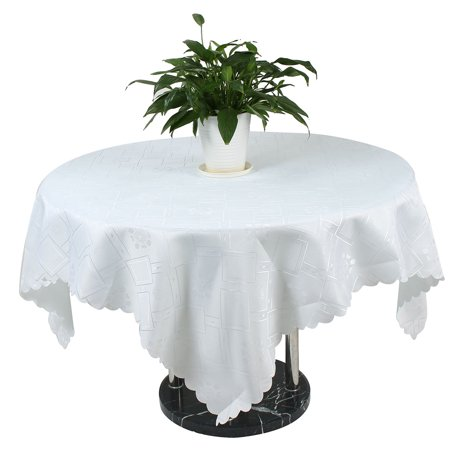 Wedding Party PVC Flower Pattern Table Cleaning Tablecloth White 150cm x 150cm
