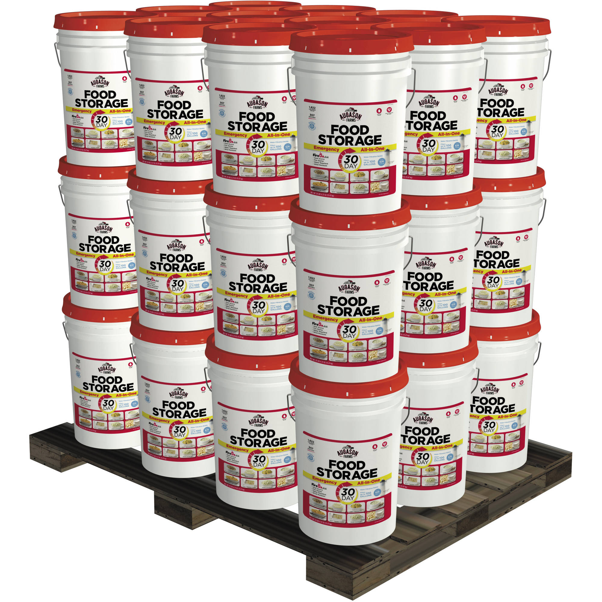 Augason Farms Deluxe 1-Year 3-Person Emergency Food Storage Pails Kit, 36 count