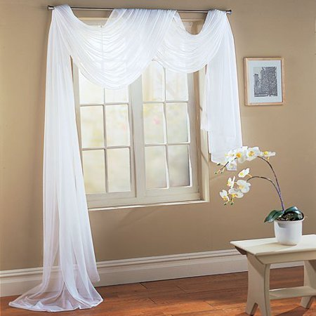 Breeze Window Valance - Decotex 1 Piece Hotel Quality Pure White Sheer Voile Window Scarf Valance 55