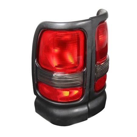 Spec-D Tuning For 1994-2001 Dodge Ram 1500 2500 3500 Black Tail Lights Red/Clear Lens Replacement (Left+Right)  1995 1996 1997 1998 1999