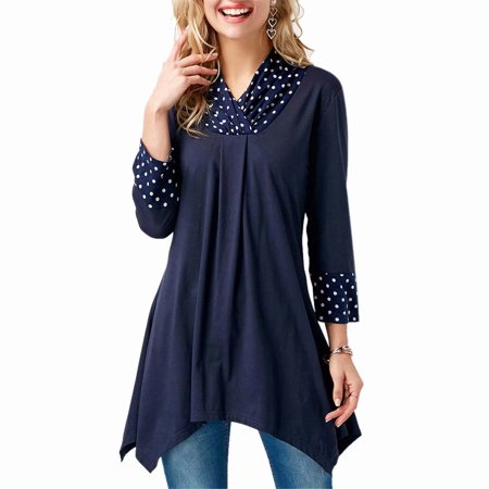 Women Long Sleeve Small Polka Dot Asymmetrical Casual Tunic Irregular Top