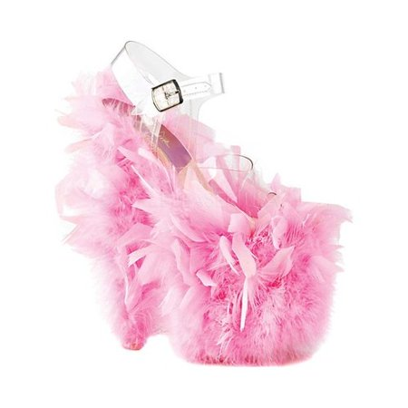 Pink Feather Shoes (Women's Pleaser Flamingo 808F Heeled)