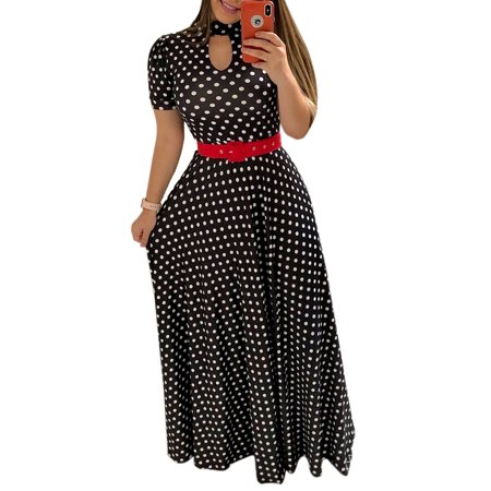 Womens Dress Elastic Short Sleeve Summer Elegant Floral Printed Polka Dots Expansion Turtleneck Cutout Tunic Lace Up Party Evening Formal Maxi Dresses