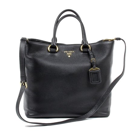 Prada Boston Bag - Prada Women's Vitello Leather Phenix Tote Bag 1BG865 Black