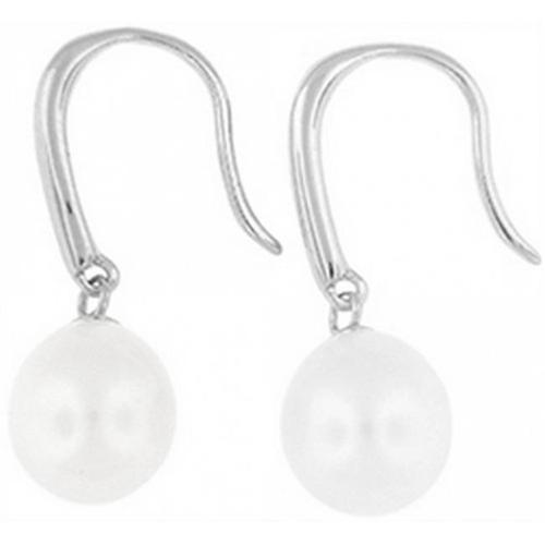 Doma Jewellery DJS02666 Sterling Silver (Rhodium Plated) Dangle and Post Earring with Oval Freshwater Pearl