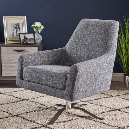 Enjoyable Alice Modern Twill Fabric Swivel Club Chair Grey Theyellowbook Wood Chair Design Ideas Theyellowbookinfo