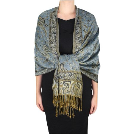 Peach Couture Double Layer Sophisticated Reversible Paisley Floral Print Pashmina Shawl Wrap