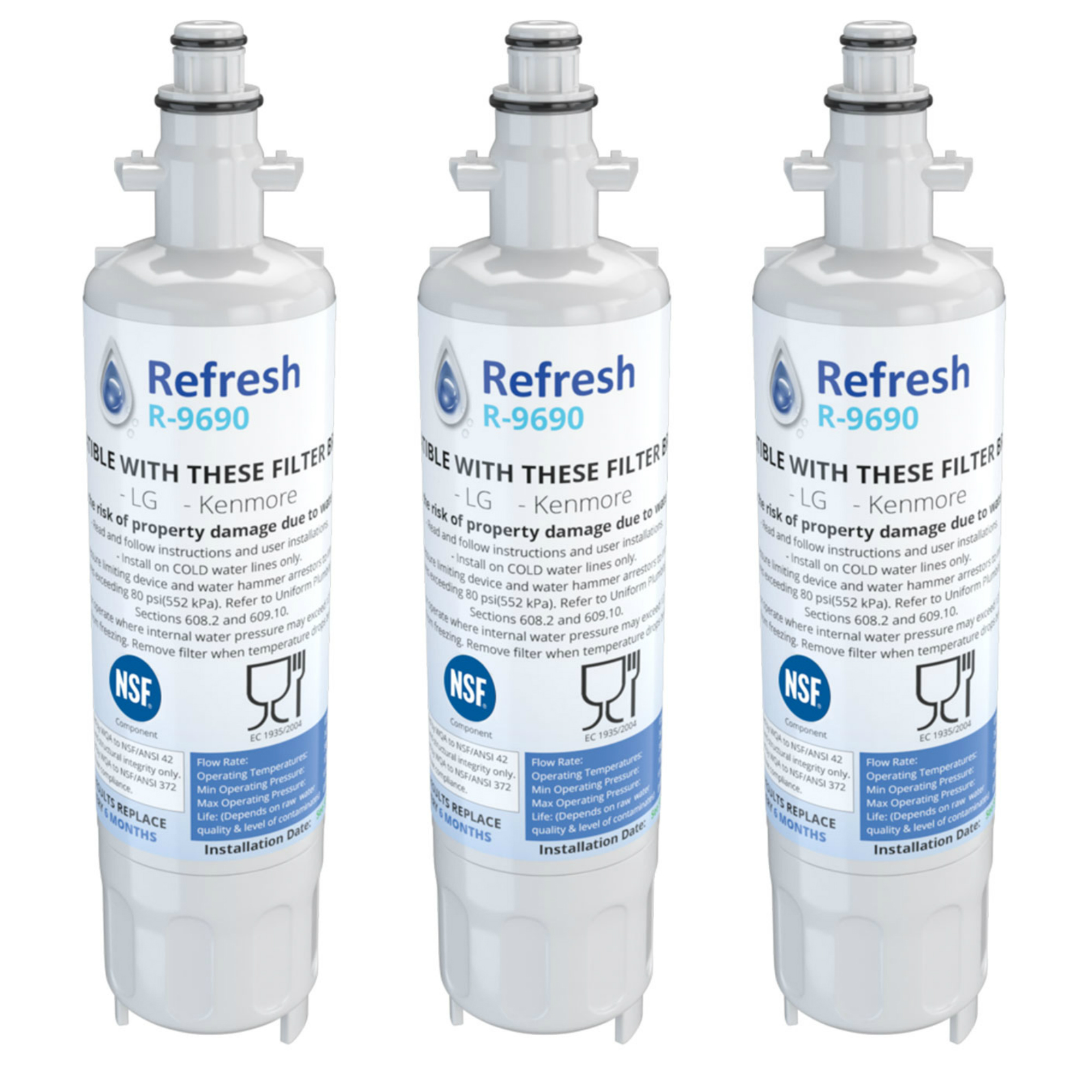 Replacement For LG WLF-01 Refrigerator Water Filter - by Refresh (3 Pack)