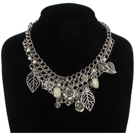 Silver Tone Charm Flower Leaf Heart Light Green Rhinestone Chain Link Necklace