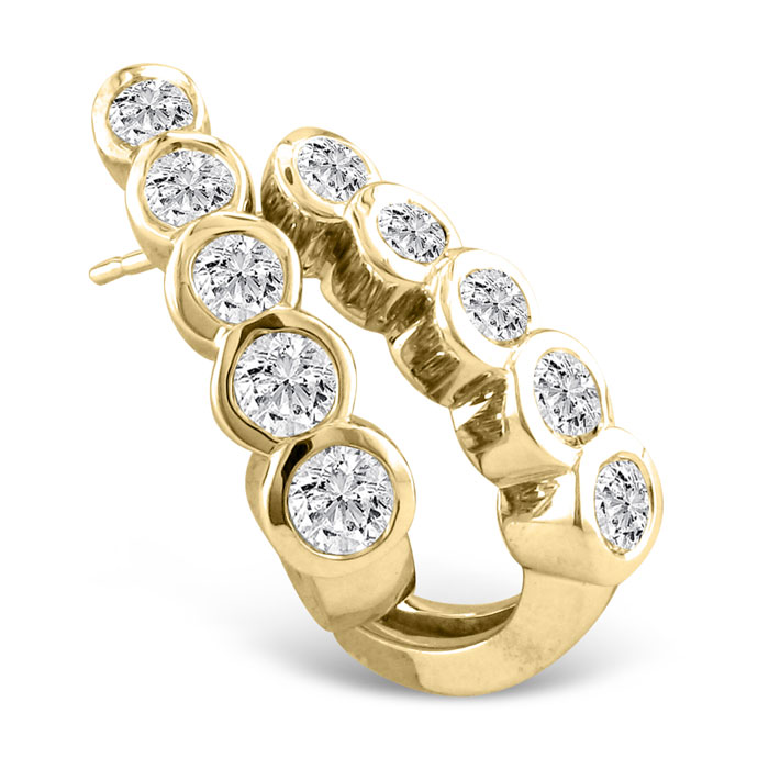 1ct Bezel Set Journey Diamond Hoop Earrings in 14k Yellow Gold