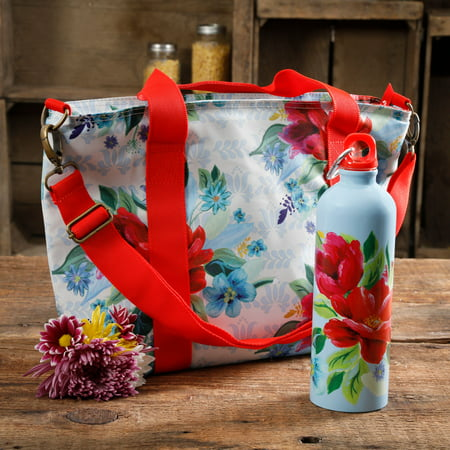 The Pioneer Woman Spring Bouquet Lunch Tote with Hydration Bottle](Lunch Lady Snl)
