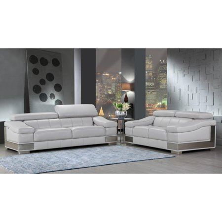 Global Furniture 415 Modern Light Gray Genuine Italian Leather Sofa Set 2pcs