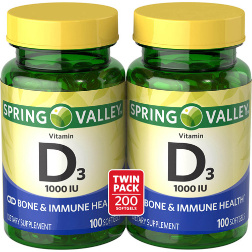 Spring Valley Vitamin D3 Dietary Supplement Softgels, 1000 IU, 100 count, 2 pk