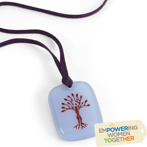 Empower Me Hand-fused Glass Pendant Necklace by Lisa Ann Sparks for Full Circle Exchange