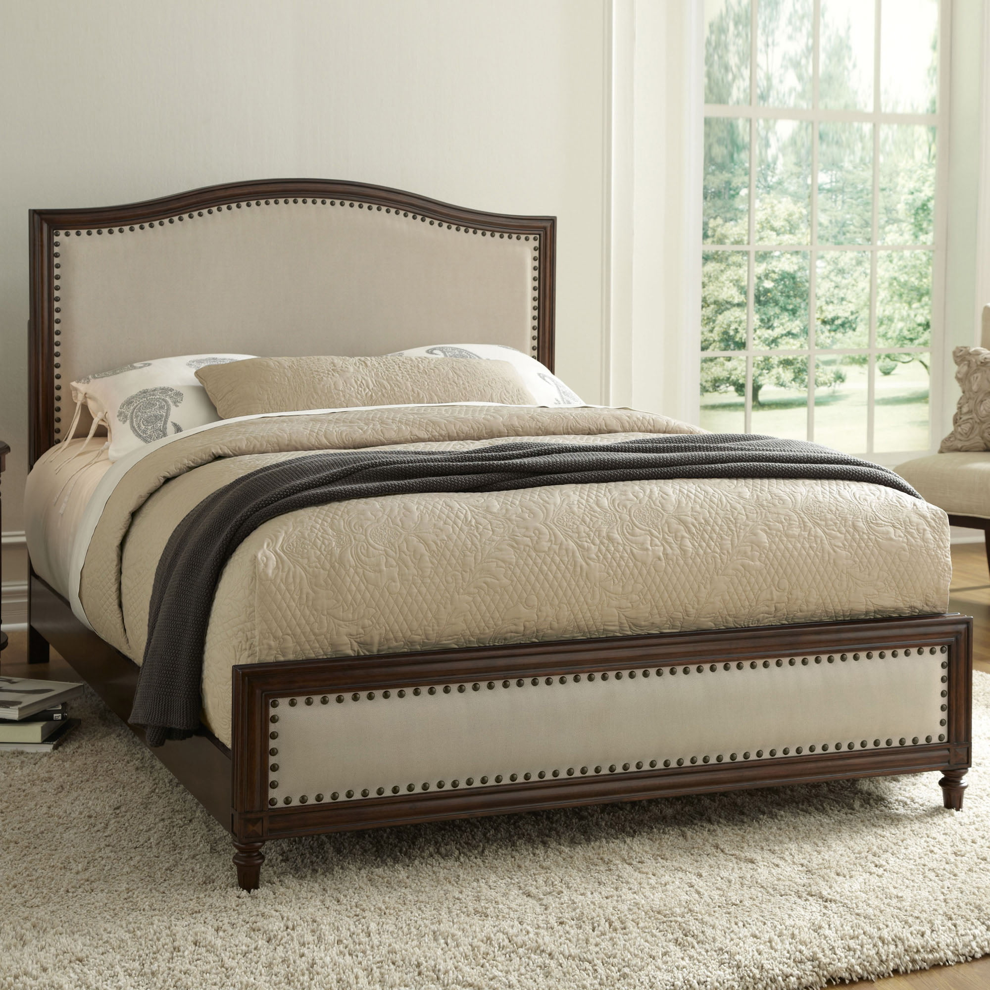Fashion Bed Group Grandover Complete Platform Bed, Cream Upholstery and Espresso Finish, Multiple Sizes by Fashion Bed Group