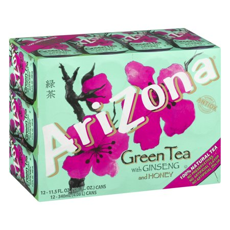 (2 Pack) Arizona Green Tea With Ginseng and Honey, 11.5 Fl Oz, 12 Count ()