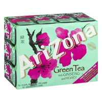 (2 Pack) Arizona Green Tea With Ginseng and Honey, 11.5 Fl Oz, 12 Count