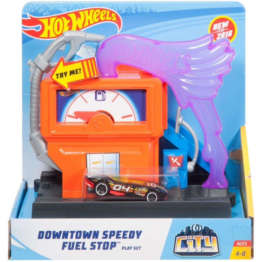 Hot Wheels City Downtown Super Fuel Stop Play Set by Mattel