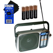 Panasonic Portable AM/FM Radio with Led Tuning Indicator + 4 AA Batteries + HeroFiber Ultra Gentle Cleaning Cloth