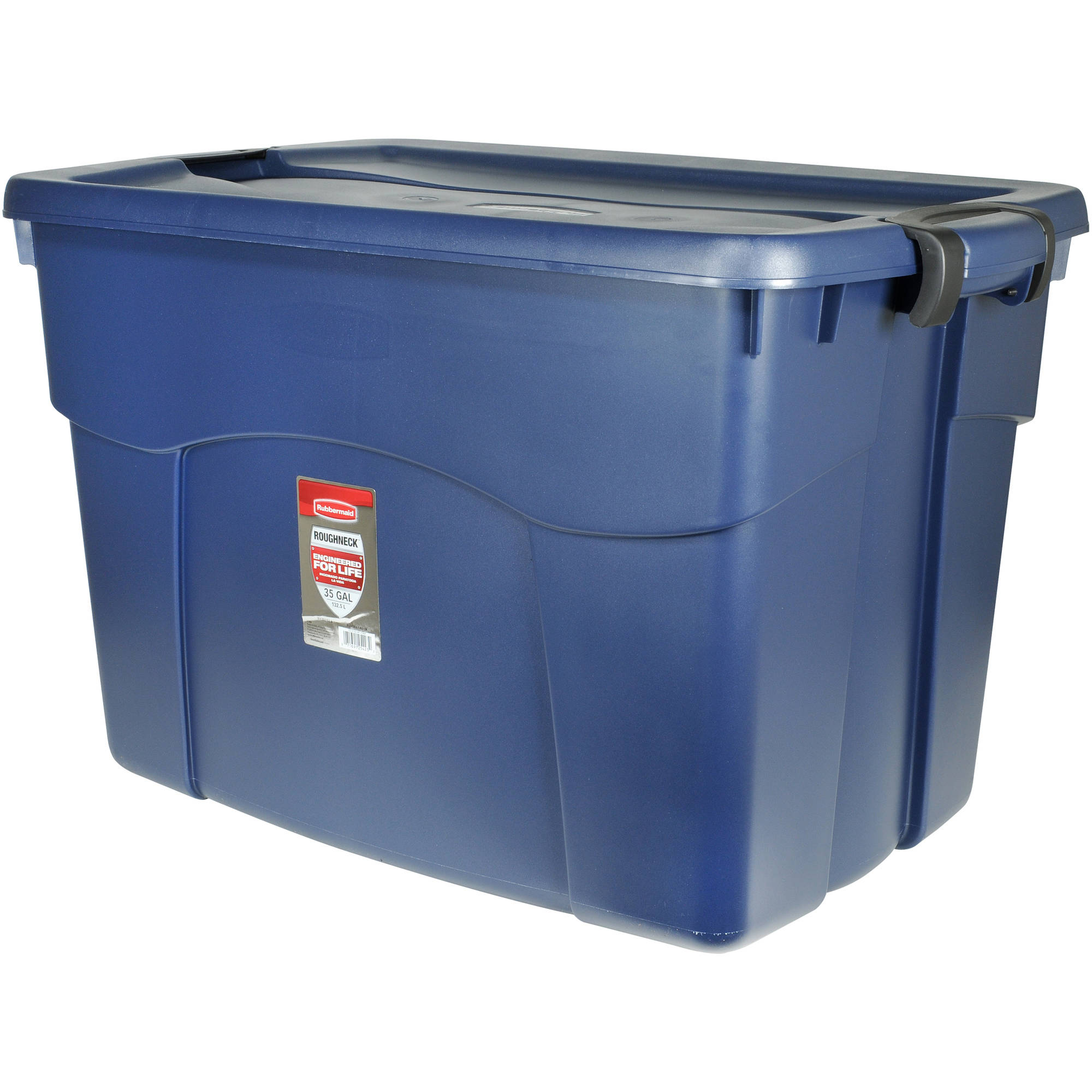 Rubbermaid Roughneck Latching Tote, 140 Qt (35 Gal), Blue, Set of 6