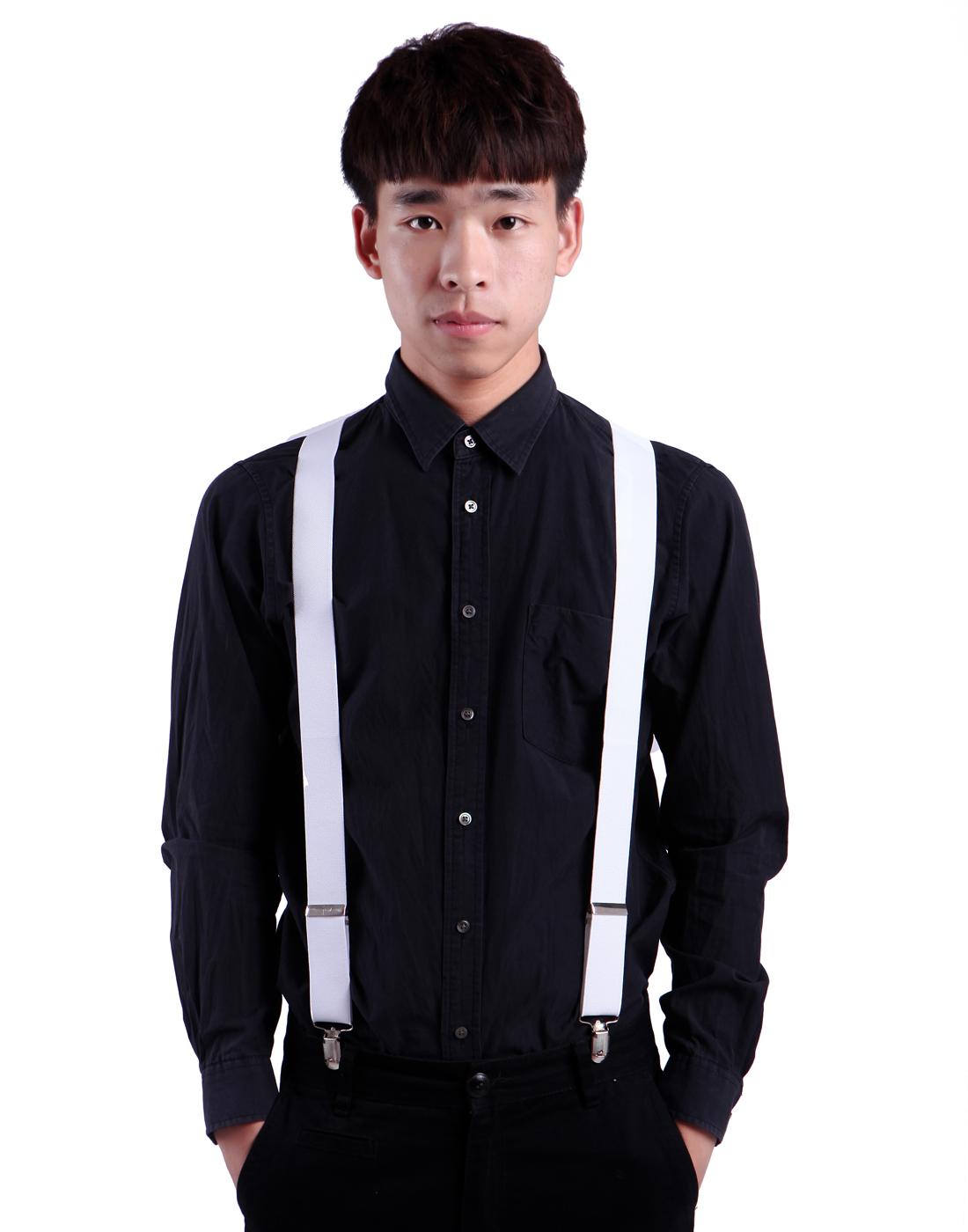Men's X-Back Clip Suspenders Adjustable Elastic Shoulder Strap - 1.5 Wide (Black)