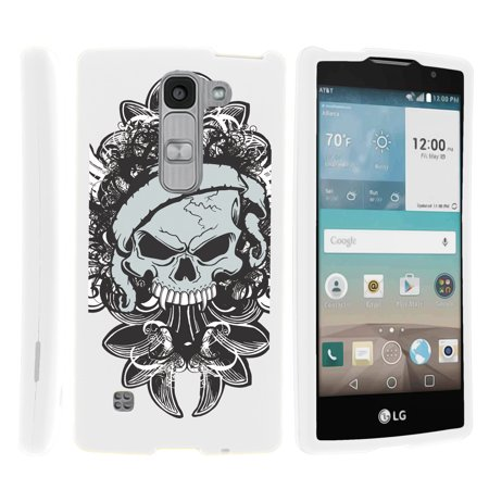LG Escape 2 H443, LG Spirit LTE, [SNAP SHELL][White] 2 Piece Snap On Rubberized Hard White Plastic Cell Phone Case with Exclusive Art -  Demon Skull