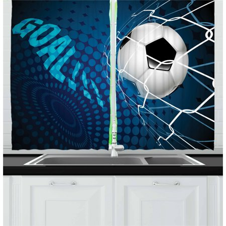 Soccer Curtains 2 Panels Set, Goal Football Flying into Net Abstract Dots Pattern Background European Sport, Window Drapes for Living Room Bedroom, 55W X 39L Inches, Blue Black White, by Ambesonne