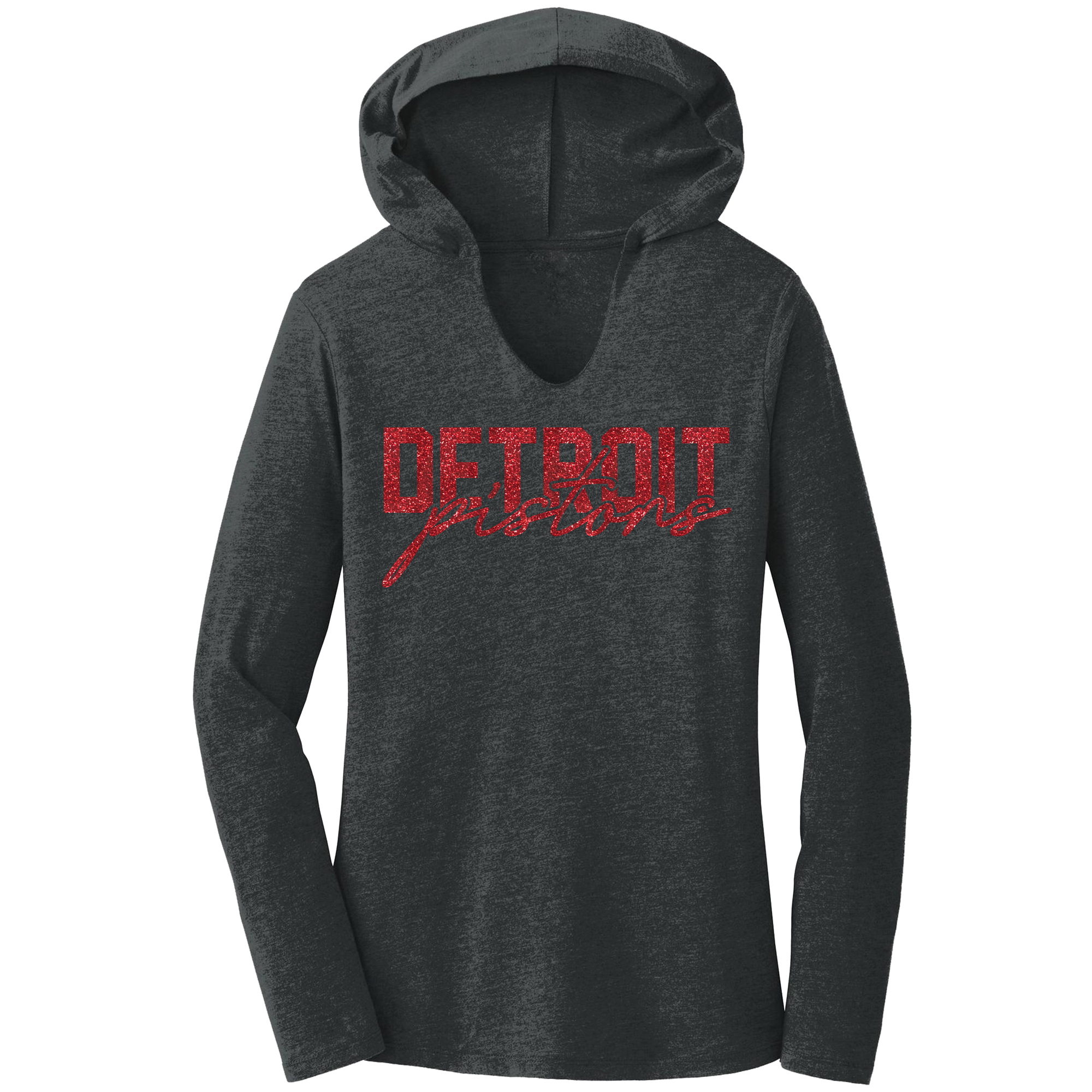 Detroit Pistons Women's Bling Hoodie - Charcoal