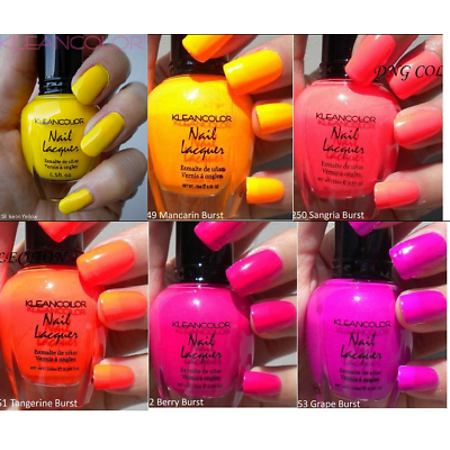 LWS LA Wholesale Store  Kleancolor NEON Collection 6pc Lot Nail Polish neon red yellow orange purple