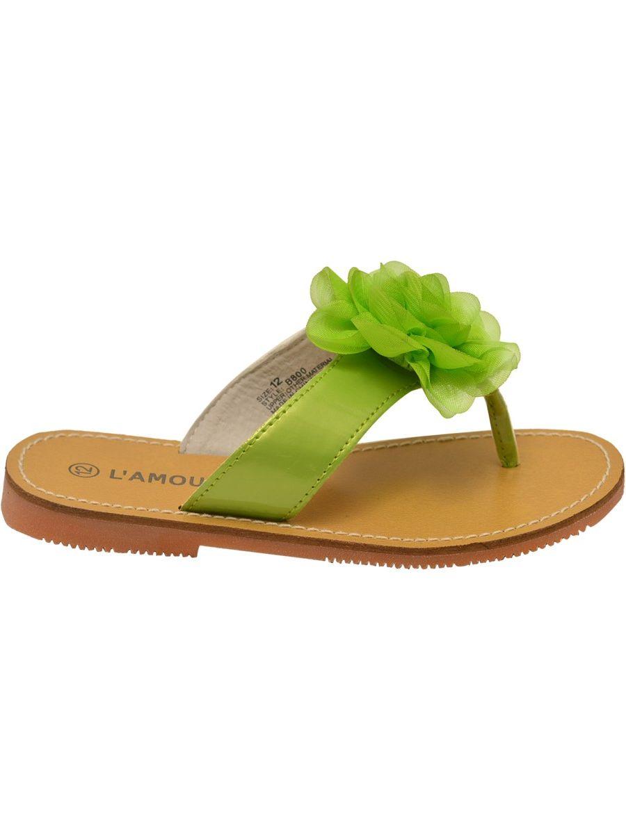 L'Amour Little Girls Lime Organza Flower Thong Sandals
