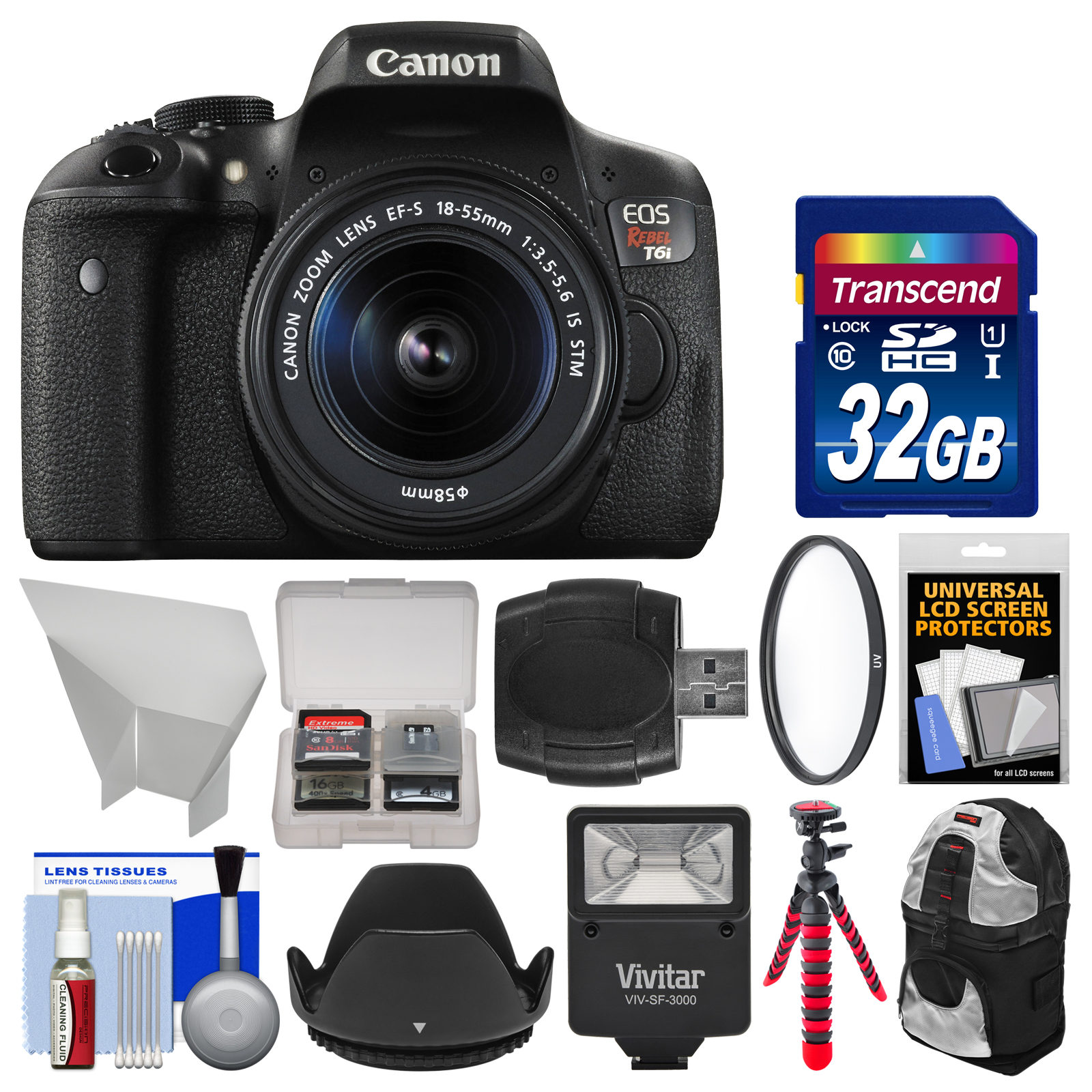 Canon EOS Rebel T6i Wi-Fi Digital SLR Camera & EF-S 18-55mm IS STM Lens with 32GB Card + Case + Flash + Tripod + Filter + Hood + Kit