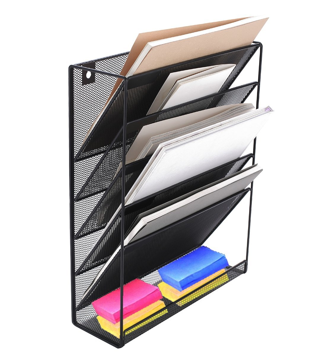 Wall Mounted File Organizer Holder Metal Mesh Magazine Rack for Office and Study Room, Black