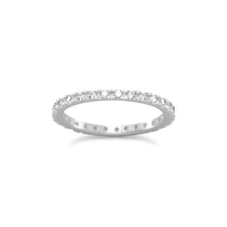 Eternity Wedding Band with Cubic Zirconia Rhodium on Sterling Silver Nontarnish (Brown Rhodium Band)