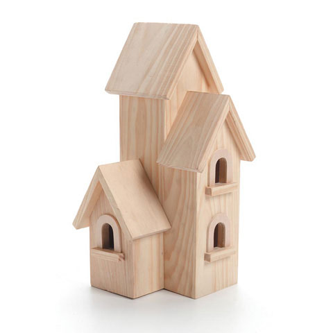 Wood Birdhouse Natural Manhattan 12 inches by Darice