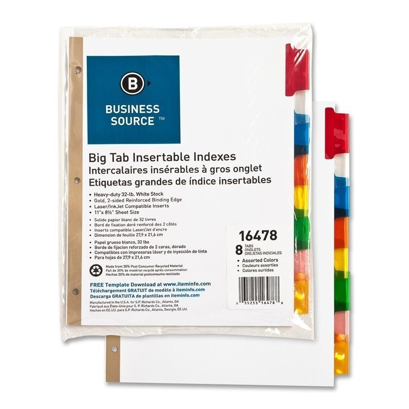 Business Source Index Dividers, 8-Tab, 11''x8-1/2'', White Stock/Multi Tabs (Set of 6)