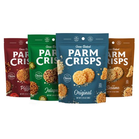 ParmCrisps, Made From 100% Real Parmesan Cheese, Gluten Free, Sugar Free, Keto Friendly, Parm Crisp 4 Flavor Variety Pack, 1.75oz Bags (Pack of 4) - School Friendly Halloween Snacks