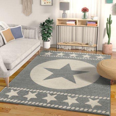 Well Woven Caspian Lone Star Grey Texas Area Rug 3x5 3 11