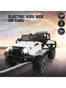 Kids Ride On Toys 12 volt Car, UHOMEPRO Electric Motorcycle for Boys/Girls, 3-5 Years Old Electric Car, Ride On Truck Car w/ Remote Control, 3 Speeds, Spring Suspension, LED Light, White, W739