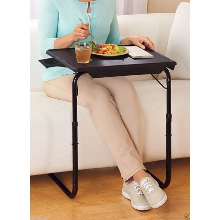 Portable Foldable TV Tray Table - Laptop, Eating, Drawing Tray Table Stand with Adjustable Tray With Sliding Adjustable Cup Holder -Black ()