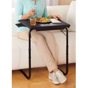 Portable Foldable Comfortable TV Tray Table - Laptop, Eating, Drawing Tray Table Stand - Adjustable Height & Angle Tray - Sliding Adjustable Cup Holder - Black