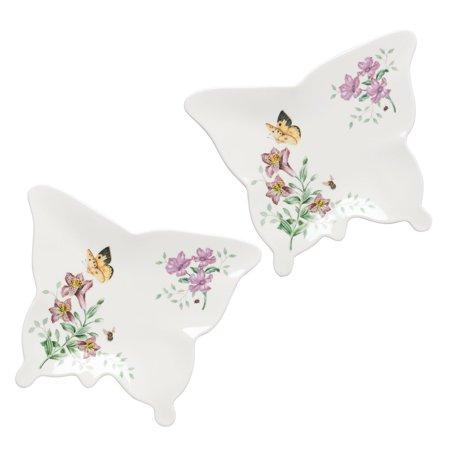 Lenox Butterfly Meadow 7 Piece - Lenox 866000 Butterfly Meadow Melamine Butterfly Trays (Set of 2), Small, Multicolor
