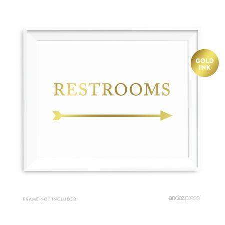 Restrooms Metallic Gold Wedding Party Directional Signs, Double-Sided (Wedding Directional Signs)